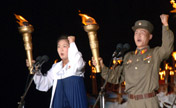 North Korea holds massive torch parade