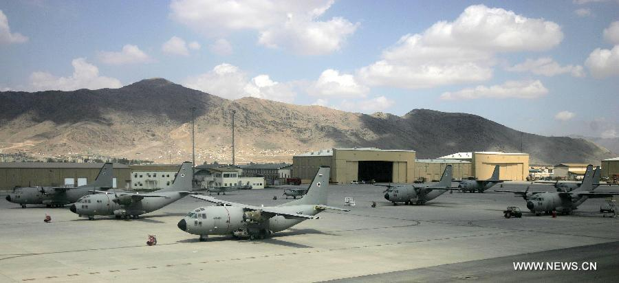 Afghan military cargo planes are seen at Kabul military airport in Kabul, Afghanistan, Sept. 12, 2012. The U.S. and its allies are helping Afghanistan rebuild its air force, which was dwindled under Taliban rule. (Xinhua/Ahmad Massoud)