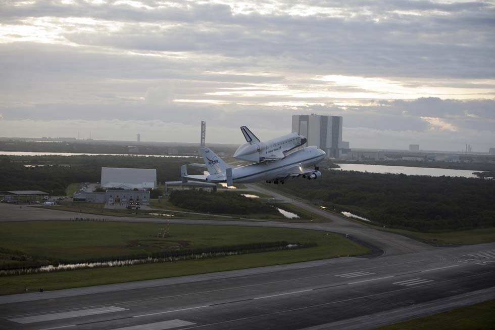 Space shuttle Endeavour takes to the sky from the Shuttle Landing Facility at NASA's Kennedy Space Center in Florida at 7:22 a.m. EDT mounted atop NASA's Shuttle Carrier Aircraft. (Photo/NASA)