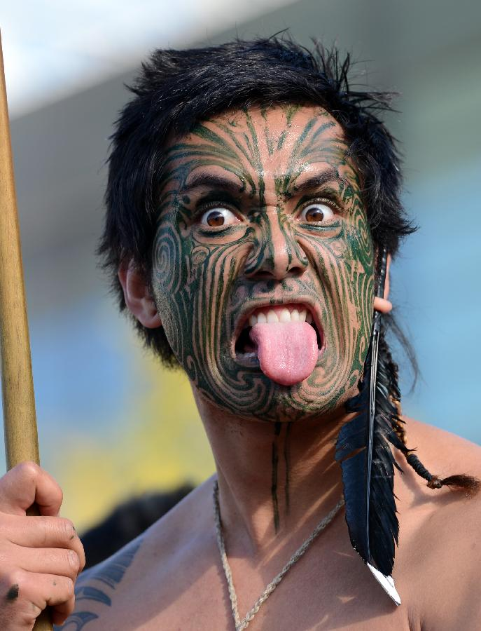Maori Natives: The Native Maori People Of New Zealand Stick Out Their
