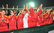 DPRK's leader watches soccer game