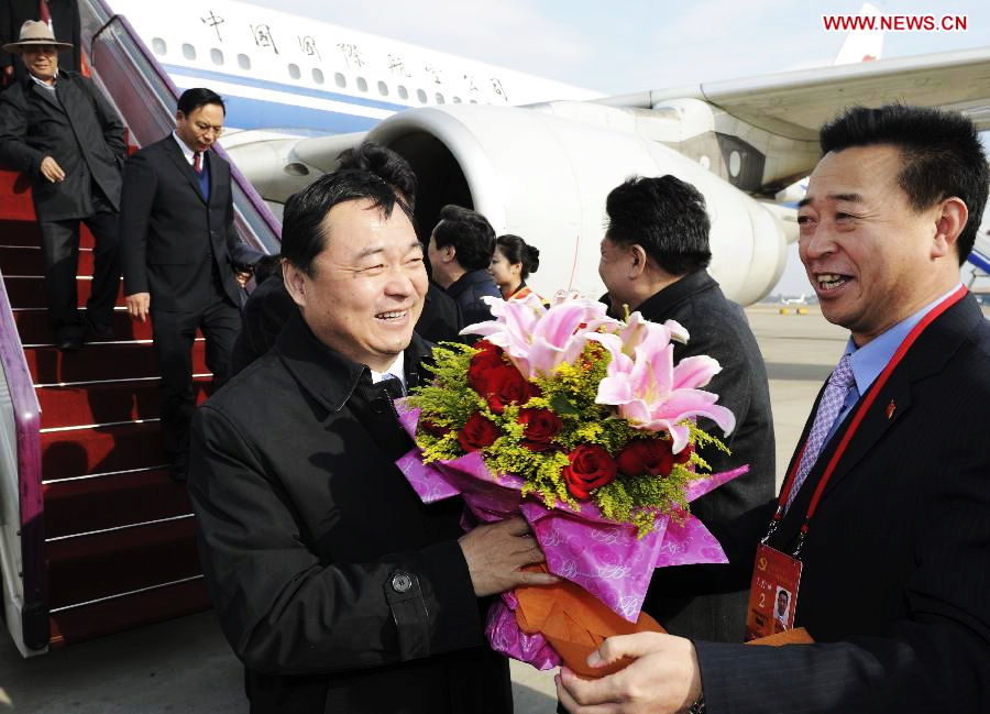 Delegates of the 18th National Congress of the Communist Party of China (CPC) from Tibet Autonomous Region arrive in Beijing, capital of China, on Nov. 5, 2012. The 18th CPC National Congress will be opened in Beijing on Thursday. (Xinhua/Xie Huanchi)