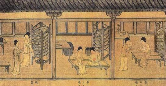 Part of the Song Dynasty silk scroll Silkworm Breeding. The painting shows the silkworm breeding scenes in Jiangsu and Zhejiang Provinces. (GMW.cn/Provided by Wang Shucun)
