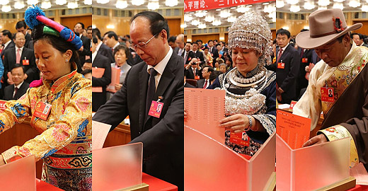Delegates cast ballots during closing session of CPC 18th National Congress