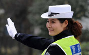 Fashion model become most beautiful traffic police