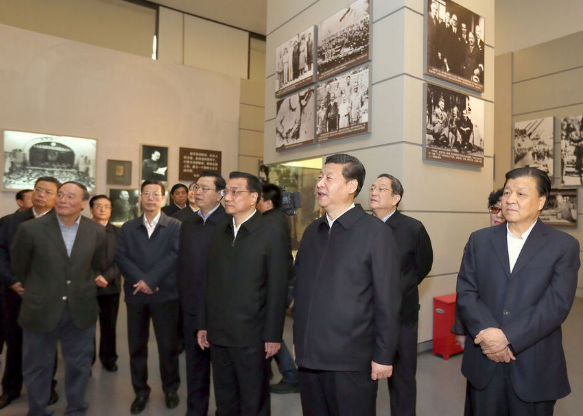 "Xi Jinping, general secretary of the Communist Party of China (CPC) Central Committee, views ""The Road Toward Renewal"" exhibition in Beijing Thursday,  along with other members of the Standing Committee of the CPC Central Committee Political Bureau.(Ju Peng/Xinhua)"
