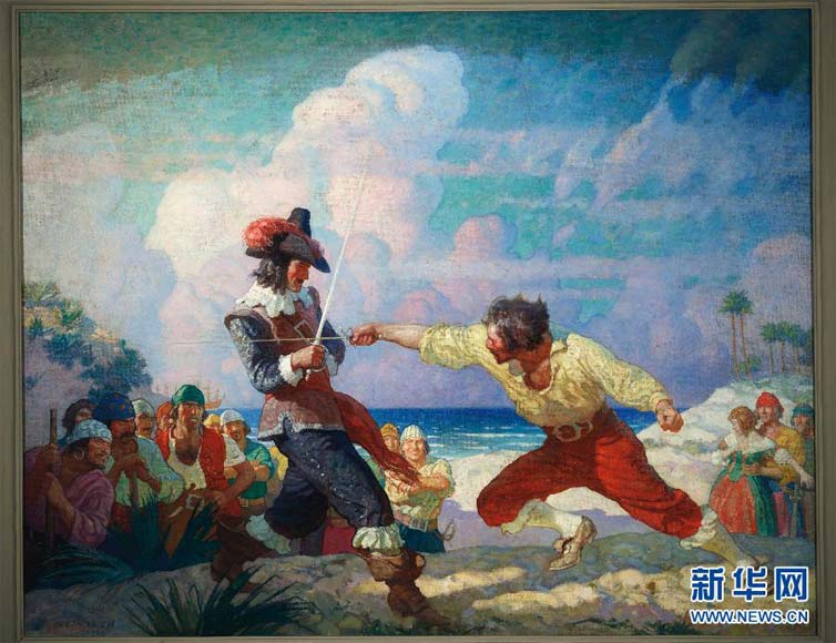 """The Duel on the Beach"" by Newell Convers Wyeth, sold at the Christie's on New York on Dec. 6, 2012. (Xinhua/Newell Convers Wyeth/National Geographic/Christie's Images)"