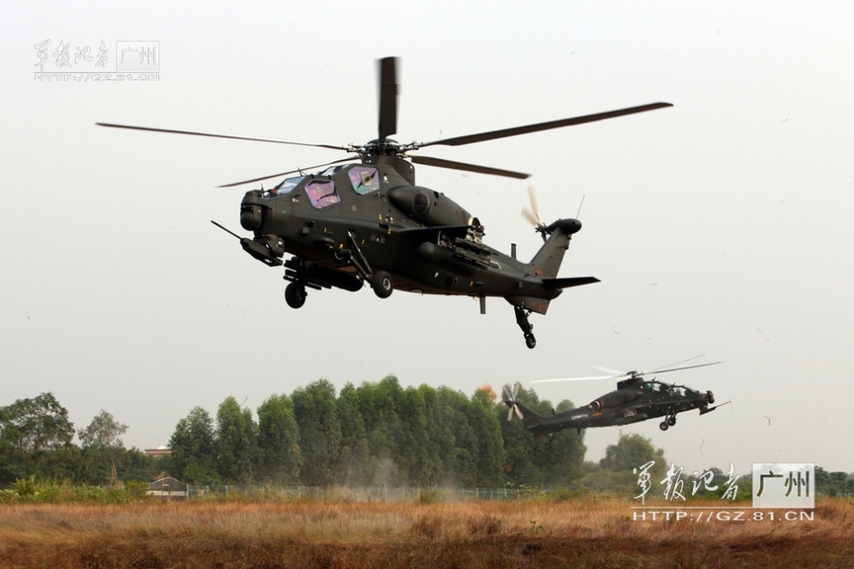 China's independently-developed WZ-10 armed helicopters of an army aviation brigade of the Guangzhou Military Area Command (MAC) of the Chinese People's Liberation Army (PLA) are in training. (China Military Online/Li Sanhong)