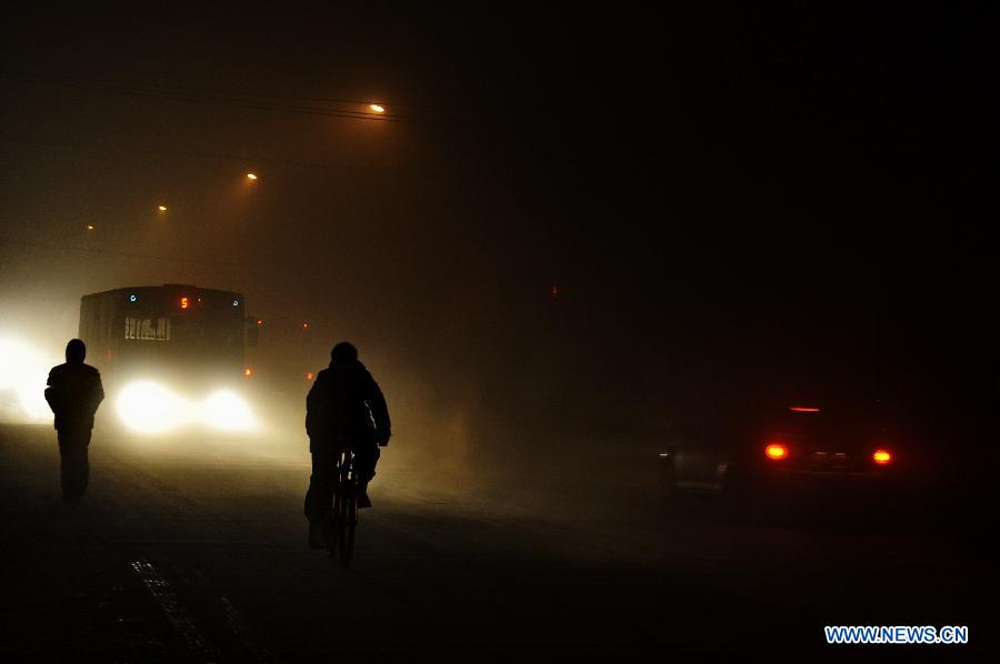 A citizen rides in fog in Changchun, capital of northeast China's Jilin Province, Dec. 14, 2012. Heavy fog covered some parts of Changchun on Friday.(Xinhua/Zhang Nan)