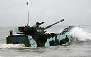 PLA marines in amphibious armored training