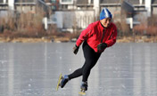 People enjoy themselves on ice in winter