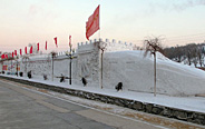 Snow Great Wall built by PLA soldiers