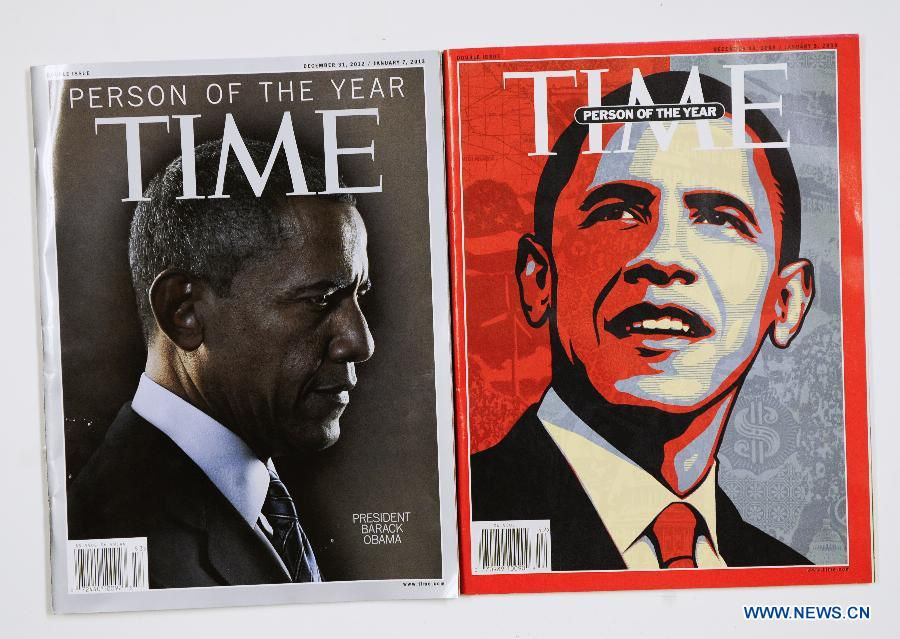 Photo taken on Dec. 21, 2012 in Washionton shows the Time magazine with the cover of Obama who is the person of the year in 2012 (L) and 2008. Time magazine on Wednesday named the recently re-elected US President Barack Obama as its person of the year for 2012 -- the second time it has accorded him this honor. (Xinhua/Zhang Jun)