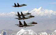 China's J-11 fighters fly over Mt. Qomolangma