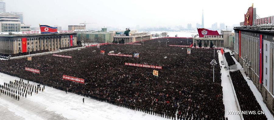 This photo provided by KCNA on Jan. 5, 2013, shows citizens of Pyongyang vowing to implement what top leader Kim Jong Un has urged in his New Year address in Pyongyang, the Democratic People's Republic of Korea (DPRK). Kim Jong Un urged his people to build the country into an economic giant in his New Year address on Tuesday. (Xinhua/KCNA)