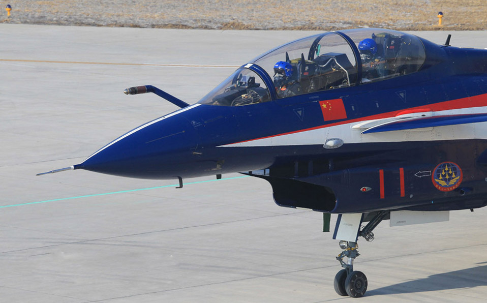 China's J-10 fighters in flight training