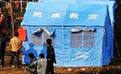 Villagers of Yunan temporarily settled in tents