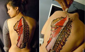 Disgusting anatomical body paintings presented