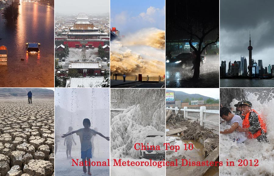 "China Meteorological Administration released the ""Top 10 National Meteorological Disasters in 2012"" on Jan. 14, 2013.(Photo/Xinhua)"
