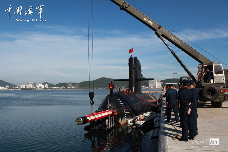A Submarine flotilla of the South Sea Fleet under the Navy of the Chinese People's Liberation Army (PLA) innovates the rapid support methods to shorten the technical preparation time for torpedo by 20 percent. (navy.81.cn/Zhou Yancheng, Liuqian)