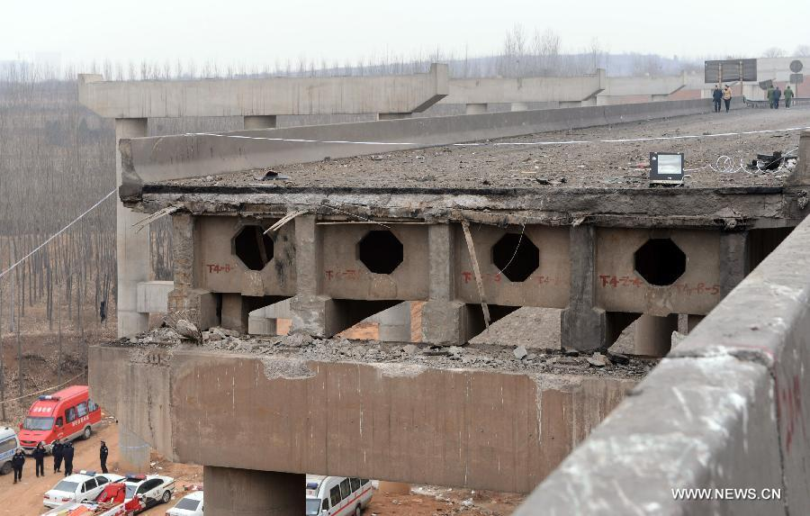 Bridge collapse accident site in central China