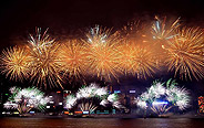 Fireworks light up Victoria Harbor in Hong Kong