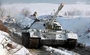 Armored brigade in snowfield training