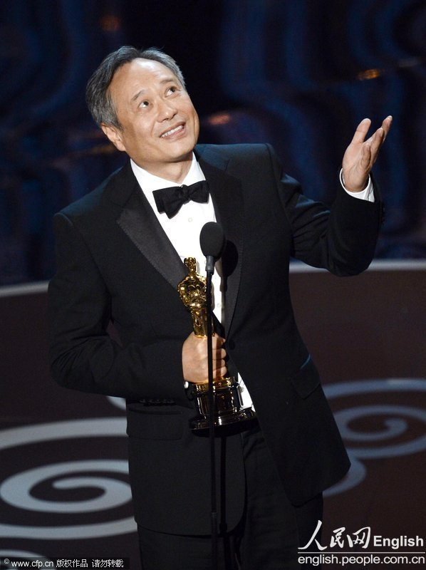 "Ang Lee, director of ""Life of Pi"", won the Oscar Award for Best Director Sunday night at the 85th Academy Awards Ceremony. (Photo/CFP)"
