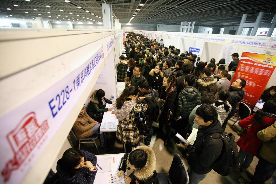 Job seekers attend a job fair in Nanjing, capital of east China's Jiangsu Province, March 2, 2013. More than 20,000 job opportunities were offered at the job fair. (Xinhua/Wang Xin)