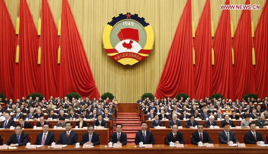 Hu Jintao, Xi Jinping, Wu Bangguo, Wen Jiabao, Jia Qinglin, Li Keqiang, Zhang Dejiang, Liu Yunshan, Wang Qishan and Zhang Gaoli sit on the platform during the opening meeting of the first session of the 12th National Committee of the Chinese People's Political Consultative Conference (CPPCC) at the Great Hall of the People in Beijing, capital of China, March 3, 2013. The first session of the 12th CPPCC National Committee opened in Beijing on March 3. (Xinhua/Ju Peng)
