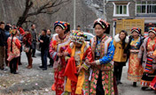 Traditional Tibetan wedding in village