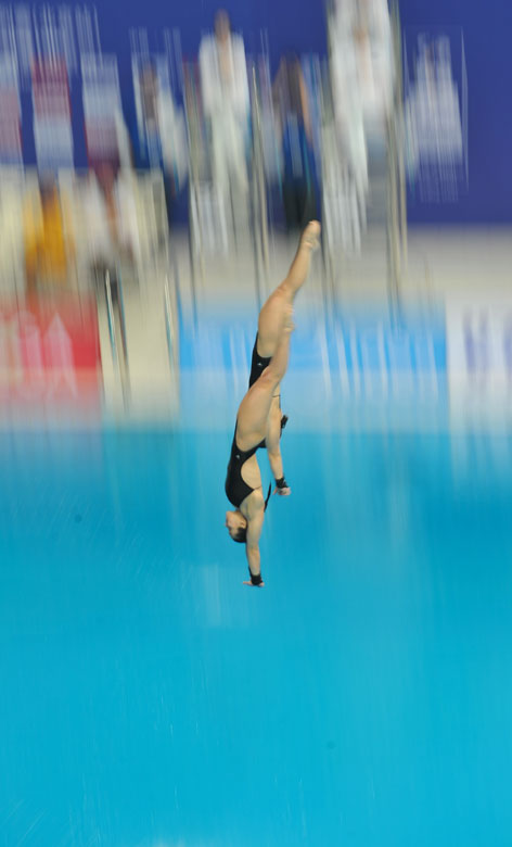 Meaghan Benfeito and Roseline Filion of Canada compete during the women's 10m Platform Synchro Final in the FINA Diving World Series 2013-Beijing at the  National Aquatics Center in Beijing, China, Match 15, 2013. Meaghan Benfeito and Roseline Filion won the silver medal with 316.71 points. (Xinhua/Jia Yuchen)