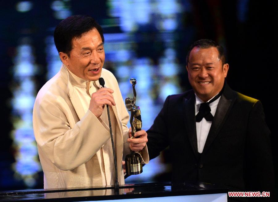 "Actor Jackie Chan receivs the Best Action Choreography award for his movie ""CZ 12"" at the presentation ceremony of the 32nd Hong Kong Film Awards in south China's Hong Kong, April 13, 2013. (Xinhua/Chen Xiaowei)"