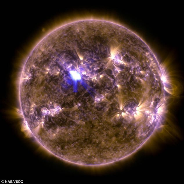 NASA's Solar Dynamics Observatory captured this image of a powerful M6.5 class flare, the strongest of 2013 at the time, at 3:16 EDT on April 11, 2013. This image shows a combination of light in wavelengths of 131 and 171 Angstroms. (Photo Source: NASA/SDO)