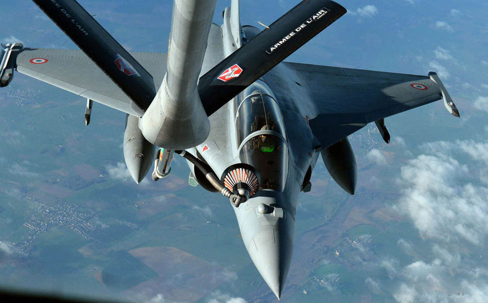 French Rafale fighter refueling in the air