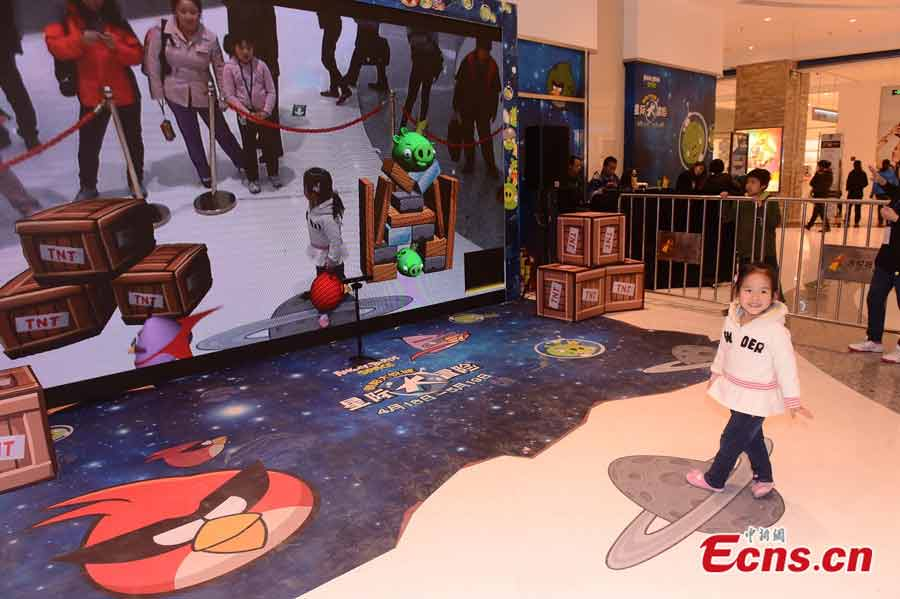 An angry-birds-themed exhibition, authorized by the Rovio Entertainment Ltd, is being held in Beijing. As the first of its kind in the Chinese mainland, the exhibition will run till May 19, 2013. (CNS / Li Xueshi)