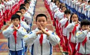 Students practice martial arts at school