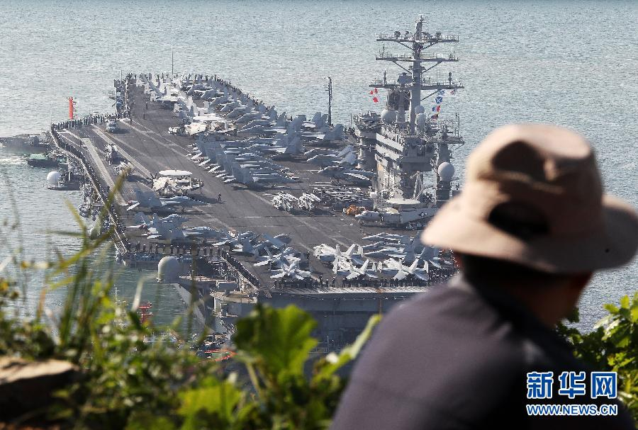 U.S. nuclear-powered warship arrives in S Korea (Xinhua Photo)