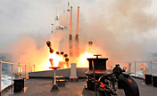 Jiangmen missile frigate in live-ammunition fire training