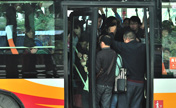 Anxious city: Crowded morning bus