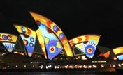 City lit up during Vivid Sydney