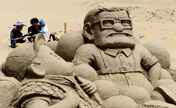 Sand sculptures at scenery spot of Qinghai Lake
