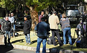 Media workers gather outside Mandela's home