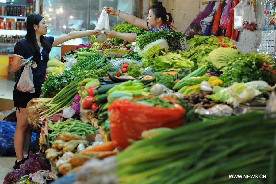 A citizen buys vegetables at a market in Changchun, capital of northeast China's Jilin Province, July 9, 2013. China's consumer price index (CPI), a main gauge of inflation, grew 2.7 percent year on year in June, up from 2.1 percent in May, the National Bureau of Statistics said on Tuesday. (Xinhua/Zhang Nan)