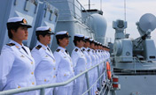 Female sailors at China-Russia joint naval drills