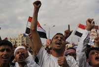 Morsi supporters demonstrate near Egyptian embassy in Yemen
