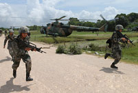Army aviation brigade in actual-troop drill