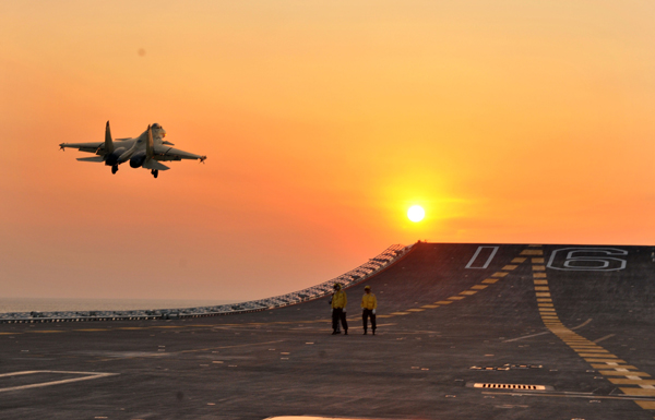 New takeoff and landing test of J-15 fighter held on Liaoning aircraft carrier - 2013 - 2013
