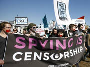 Demonstrators protest against government surveillance in U.S.