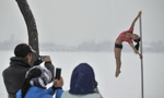 Pole dancing team show their moves in snow
